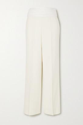 Victoria Beckham Grain De Poudre Wool Straight-leg Pants - Off-white