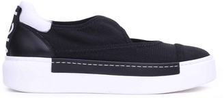 Vic Matié Black Mesh Slip-ons With Cut Out