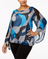 Alfani Plus Size Angel-Sleeve Blouson Top, Created for Macy's