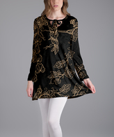 Lily Black & Beige Vines Tie-Neck Long-Sleeve Tunic - Plus Too