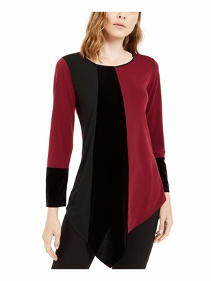 Alfani Womens Burgundy Color Block Long Sleeve Jewel Neck Top UK Size:8