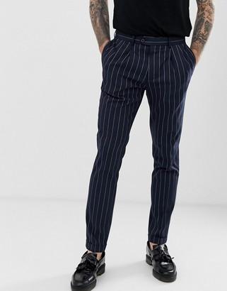 Burton Menswear skinny trousers in navy pinstripe