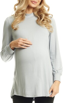 Everly Grey Sherry Maternity/Nursing Mock Neck Top