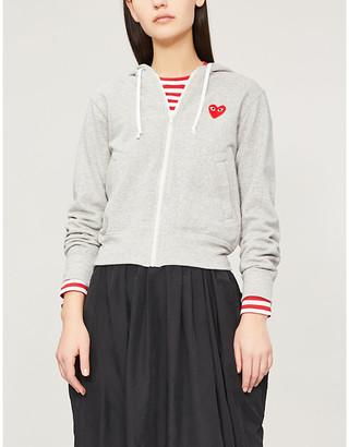 Comme des Garcons Heart-appliqued cotton-jersey hoody