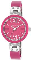 Anne Klein Women's Ak-1197Mama Silver Tone Watch with Magenta Plastic Semi-Bangle and Bezel, Magenta Dial