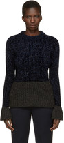 3.1 Phillip Lim Grey and Navy Flounce Pullover