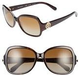 Tory Burch Women's 57Mm Polarized Butterfly Sunglasses - Dark Tortoise/ Polar