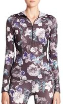 adidas by Stella McCartney Adizero Hooded Floral-Print Top