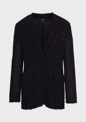 Giorgio Armani Knit-Fabric Jacket With Sequins