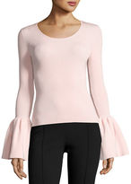 Elizabeth and James Willow Ribbed Bell-Sleeve Top, Black