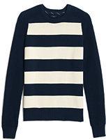 Lands' End Men's Rugby Stripe Crewneck Sweater-Ink Black