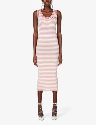 Alessandra Rich Striped scoop-neck cotton-blend maxi dress