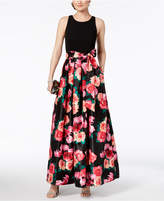 Jessica Howard Cutout Printed Contrast Gown