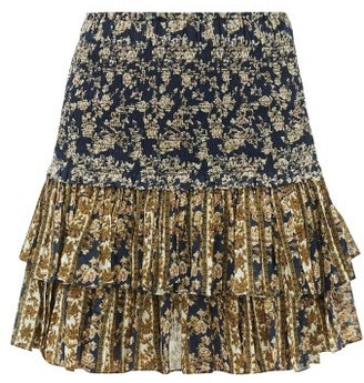 Etoile Isabel Marant Naomi Ruffled Floral-print Mini Skirt - Womens - Navy Multi