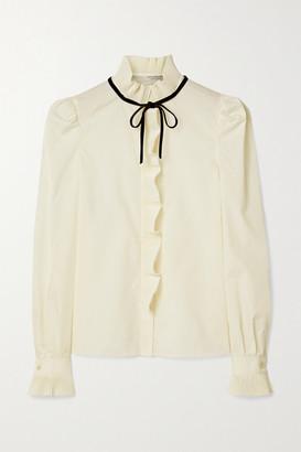 Philosophy di Lorenzo Serafini Ruffled Velvet-trimmed Voile Shirt - Cream