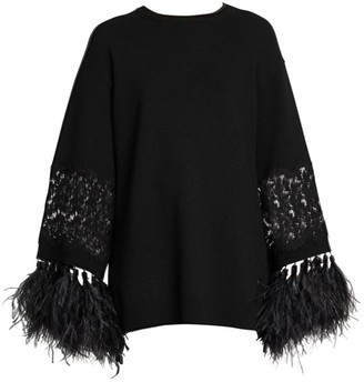 Valentino Virgin Wool & Cashmere Feather-Trimmed Tunic
