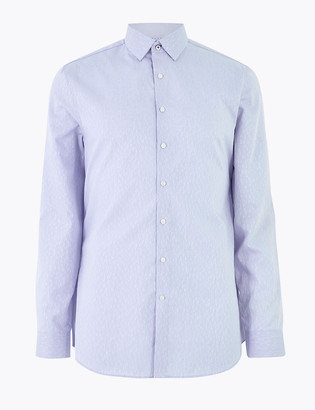 Marks and Spencer Slim Fit Pure Cotton Weave Shirt
