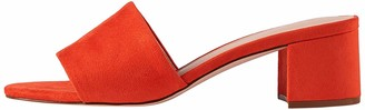 Find. Amazon Brand Wide Fit Simple Block Heel Mule Open Toe Sandals Orange Coral US 10