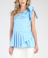 Grazia Light Blue Asymmetrical Peplum Top