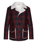 Saint Laurent Faux-shearling lined checked wool overcoat