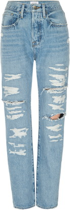 Frame Le Original Ripped High Waist Straight Leg Jeans