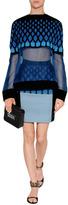David Koma Blue-Multi Cropped Sheer Silk/Neoprene Top