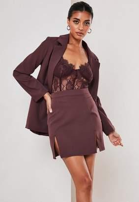 Missguided Purple Co Ord Double Split Mini Skirt