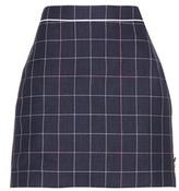 Thom Browne Windowpane Wool And Cotton Blend Skirt