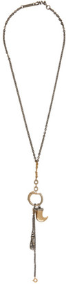 Maison Margiela Silver and Gold Hand and Crest Necklace