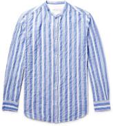 Officine Generale Gaspard Striped Grandad-Collar Cotton-Voile Shirt
