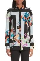 Etro Floral Print Silk Crepe de Chine Blouse