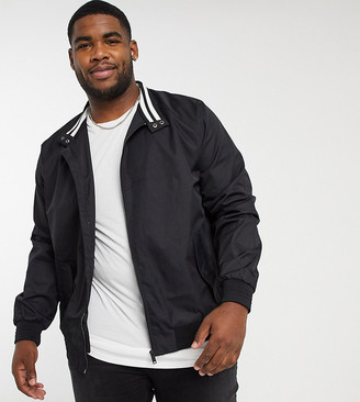 Burton Menswear Big & Tall harrington jacket in black