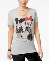 Freeze 24-7 7 7 Juniors' Disney Mickey and Minnie Mouse Cutout Graphic T-Shirt