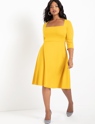 ELOQUII 3/4 Sleeve Fit and Flare Dress