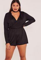 Missguided Black Plus Size Wrap Front Playsuit