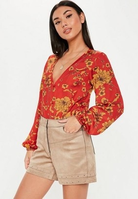 Missguided Red Scarf Button Front Bodysuit