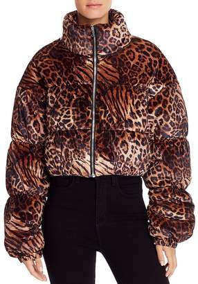 Tiger Mist Reme Leopard Print Velour Puffer Jacket
