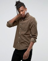 Asos Regular Fit Cord Shirt In Khaki