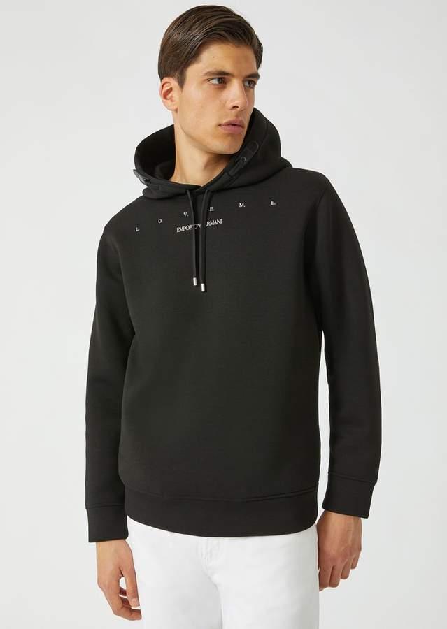 Emporio Armani Love Me Sweatshirt In Lightweight Scuba Fabric