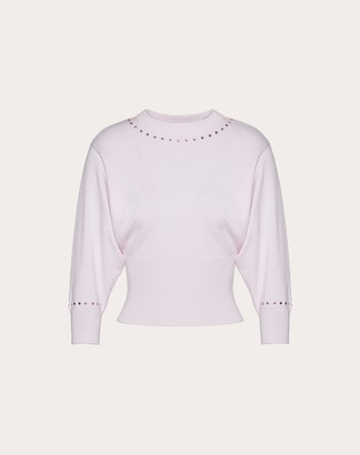 Valentino Wool Cashmere Jumper With Cabochon Women Pink Virgin Wool 70%, Cashmere 30% M