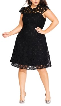 City Chic Trendy Plus Size Lacey Love Dress