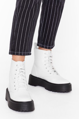 Nasty Gal Womens Up and At 'Em Faux Leather Platform Boots - White