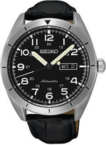 Seiko Men's Automatic Black Leather Strap Watch 43mm SRP715