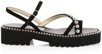 Jimmy Choo Desi Studded Suede Platform Sandals