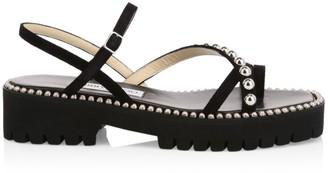Jimmy Choo Desi Studded Suede Platform Sandals