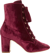 Polly Plume Ally Lace-Up Red Velvet Booties Red 37