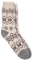 Merona Women's Crew Socks Oatmeal Fairisle Brushed for Warmth One Size