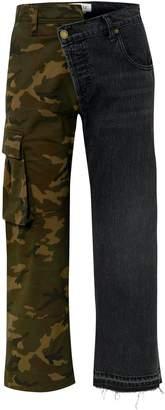 Monse Printed Twill And Denim Straight-leg Pants