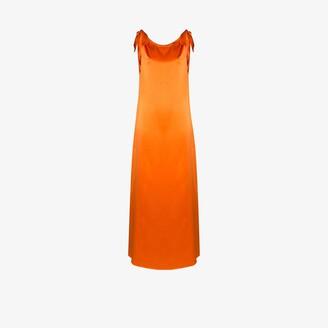 BERNADETTE Wendy tie shoulder silk maxi dress