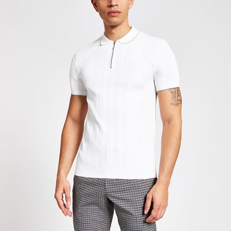River Island White muscle fit half zip knitted polo shirt